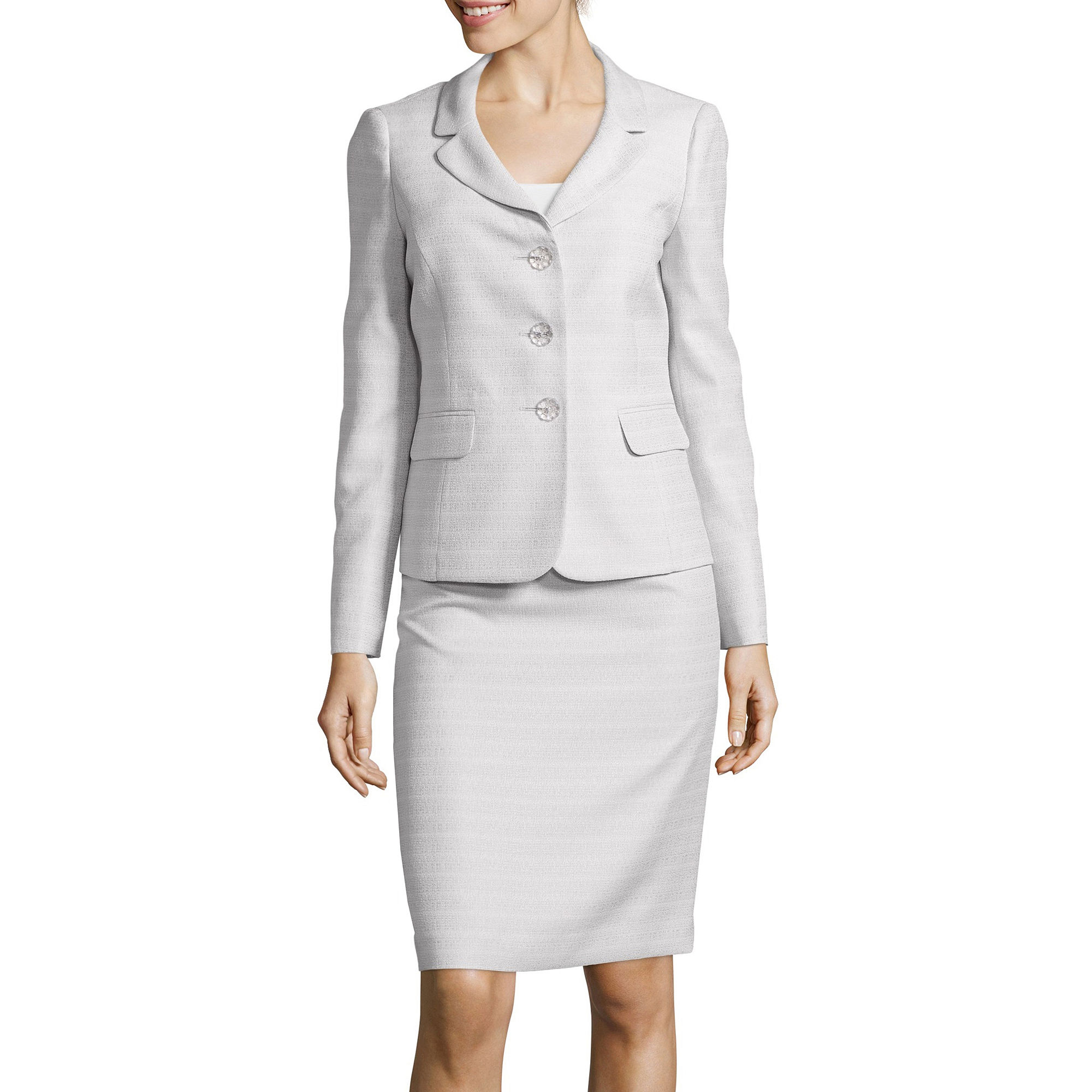 Le Suit Long-Sleeve Tweed Jacket and Skirt Suit Set plus size,  plus size fashion plus size appare