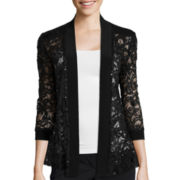 R&M Richards Lace-Sleeve Open Front Shrug