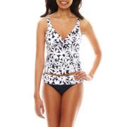 Liz Claiborne® Floral Twist Underwire Tankini Swim Top or Mid-Rise Bottoms