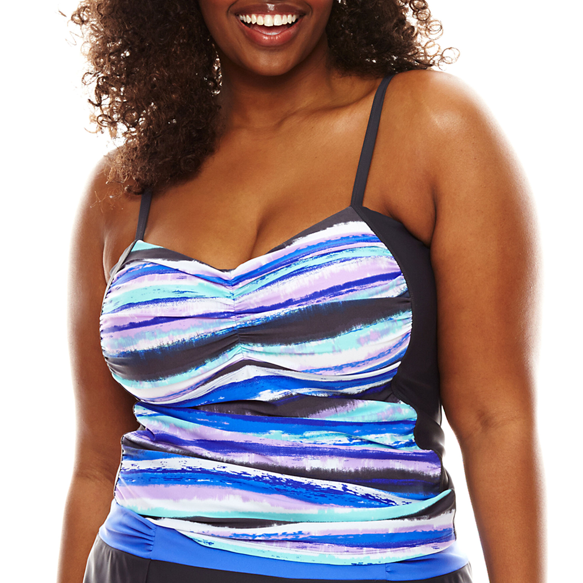 Free Country Printed Tankini Swim Top - Plus