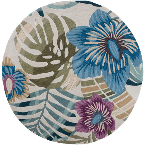 Floral Palm Tree Round Area Rug
