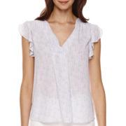 a.n.a® Flutter-Sleeve Popover Shirt- Petite