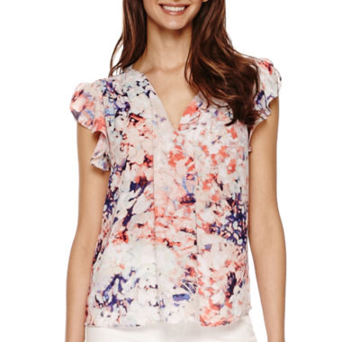 jcpenney.com | a.n.a® Flutter-Sleeve Popover Shirt- Petite