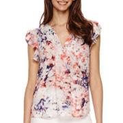 a.n.a® Flutter-Sleeve Popover Shirt- Petites