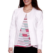 Liz Claiborne® Long-Sleeve Piped Peplum Jacket - Petite