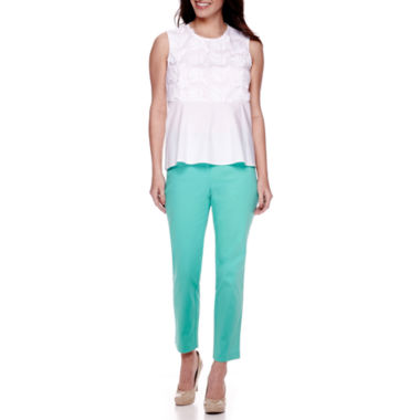 jcpenney.com | Liz Claiborne® Sleeveless Embroidered Peplum Top or Emma Pique Ankle Pants