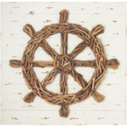 Driftwood Ship Wheel Wall Art