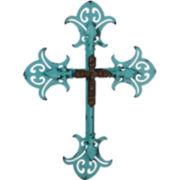 Double Layered Metal Cross Wall Art