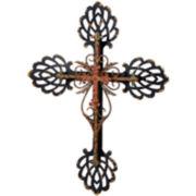 Embellished Double Layered Metal Cross Wall Art