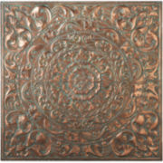 Patina Floral Medallion Metal Wall Art