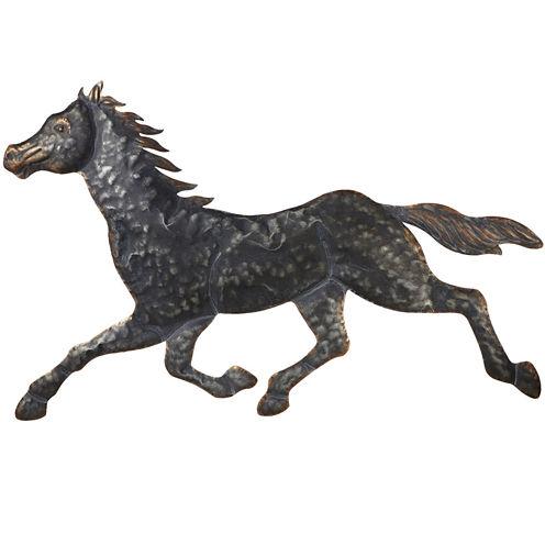 Stamped Galloping Horse Metal Wall Art