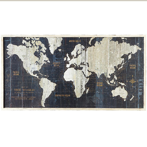 Framed Nautical Route World Map Wall Art