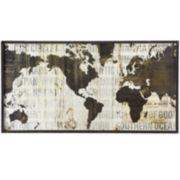 Framed Text World Map Wall Art