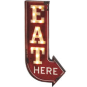 Eat Here Arrow Marquee Wall Art