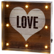 Love Heart LED Galvanized Framed Wall Art