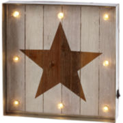 Star LED Galvanized Framed Wall Art