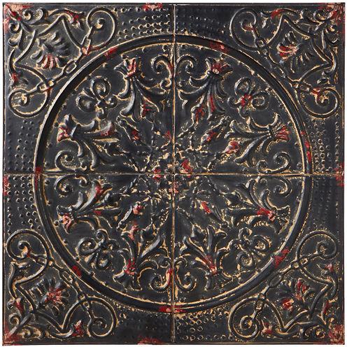 Distressed Black Star Scroll Medallion Wall Art