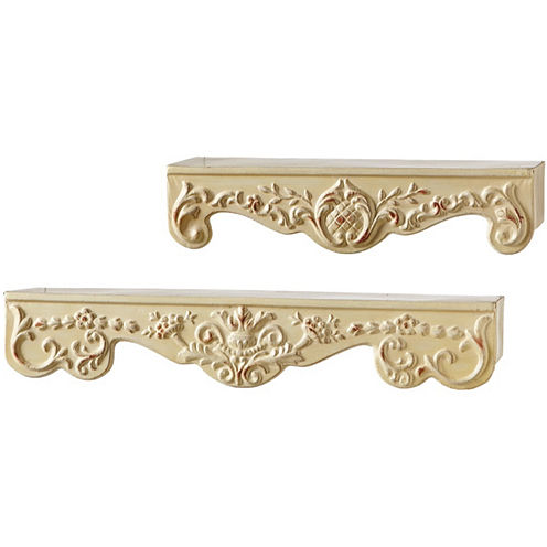 Large Distressed Ivory 2-pc. Scroll Metal Wall Shelves