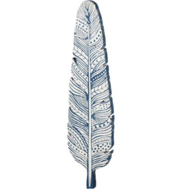 jcpenney.com | Blue Feather-Shaped Distressed Wooden Wall Art
