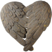 Feather Heart Metal Wall Art