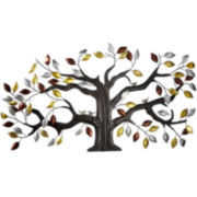Leaf Tree with Birds Metal Wall Art