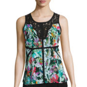 nicole by Nicole Miller® Sleeveless Lace-Trimmed Top