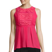nicole by Nicole Miller® Sleeveless Lace-Trim High-Low Top