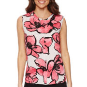 Liz Claiborne® Sleeveless Floral Peplum Blouse - Tall