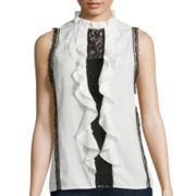 BELLE + SKY™ Sleeveless Contrast Lace-Inset Blouse