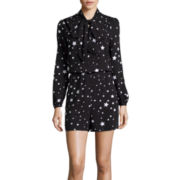 BELLE + SKY™ Long-Sleeve Star-Print Bow Romper