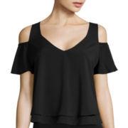 Bisou Bisou® Short-Sleeve Cold-Shoulder Flare Top