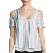 Bisou Bisou® Short-Sleeve Cold-Shoulder Flare Top