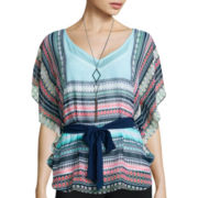 Alyx® Butterfly Sleeve V-Neck Woven Top with Necklace