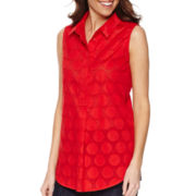 Liz Claiborne® Sleeveless Collared Clip-Dot Tunic