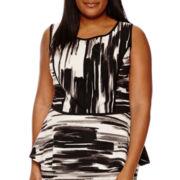 Alyx® Sleeveless Print Knit Peplum Top - Plus