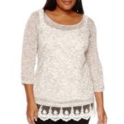 Alyx® Melange Knit Crochet Trim Top - Plus