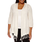 Alyx® 3/4 Sleeve Fringe Trim Cardigan - Plus