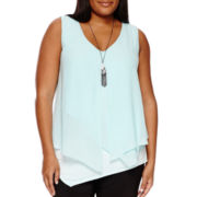 Alyx® Asymmetrical Lay-Over Tank With Necklace - Plus