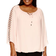 Alyx® 3/4-Sleeve Peasant Top With Lattice Trim - Plus