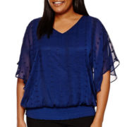 Alyx® Eyelet Smocked Knit Overlay Top - Plus