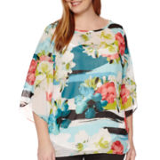 Worthington® 3/4-Sleeve Tulip Sleeve Blouse - Plus