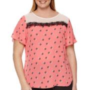 Worthington® Short-Sleeve Lace Detail Colorblock Top - Plus