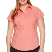 Worthington® Princess Seam Short-Sleeve Shirt - Plus