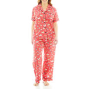 Insomniax® Short Sleeve and Pants Cotton Pajama Set - Plus