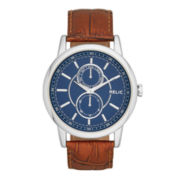Relic® Adrien Mens Blue Dial Brown Leather Strap Watch ZR15783