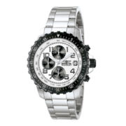 Invicta® Mens White Dial Stainless Steel Chronograph Watch