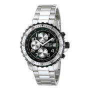 Invicta® Mens Black Dial Stainless Steel Chronograph Watch