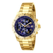 Invicta® Mens Blue Dial Gold-Tone Stainless Steel Chronograph Watch