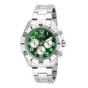 Invicta® Pro Diver Mens Green Dial Stainless Steel Chronograph Watch