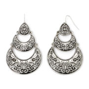 Mixit™ Textured Silver-Tone Crescent Earrings